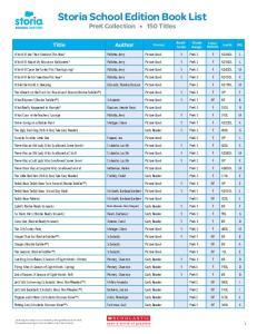 Storia School Edition Book List PreK Collection 150 Titles