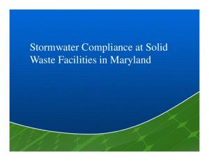 Stormwater Compliance at Solid Waste Facilities in Maryland
