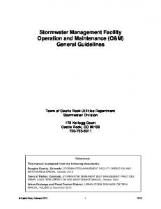 Stormwater Management Facility Operation and Maintenance (O&M) General Guidelines