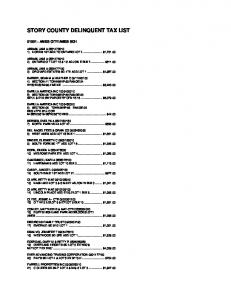 STORY COUNTY DELINQUENT TAX LIST