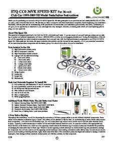 STQ CC0 36VK SPEED KIT For 36-volt Club Car DS Model Installation Instructions