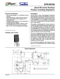 STR-W6765 Quasi-Resonant Topology Primary Switching Regulators