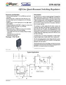 STR-X6729. Off-Line Quasi-Resonant Switching Regulators