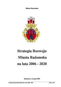 Strategia Rozwoju Miasta Radomska na lata