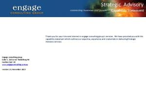 Strategic Advisory Capability Statement