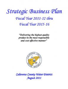 Strategic Business Plan. Fiscal Year thru Fiscal Year