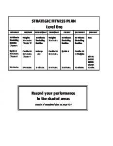 STRATEGIC FITNESS PLAN Level One