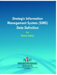 Strategic Information Management System (SIMS) Data Definition