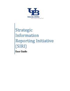 Strategic Information Reporting Initiative (SIRI) User Guide
