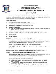 STRATEGIC INITIATIVES STANDING COMMITTEE AGENDA