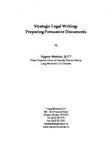Strategic Legal Writing: Preparing Persuasive Documents