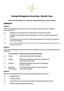 Strategic Management Accounting Module 1 Quiz