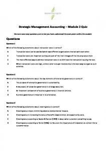 Strategic Management Accounting Module 2 Quiz