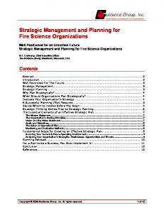 Strategic Management and Planning for Fire Science Organizations