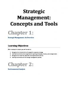 Strategic Management: Concepts and Tools Chapter 1: