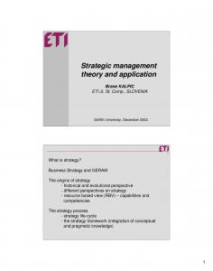 Strategic management theory and application