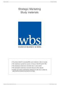 Strategic Marketing. Study materials
