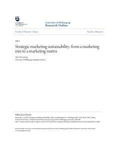 Strategic marketing sustainability: from a marketing mix to a marketing matrix
