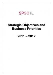 Strategic Objectives and Business Priorities