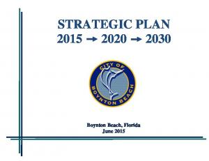 STRATEGIC PLAN Boynton Beach, Florida June 2015