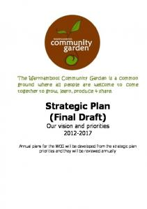 Strategic Plan (Final Draft) Our vision and priorities