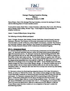 Strategic Planning Committee Meeting Minutes Wednesday, October 17, 2006