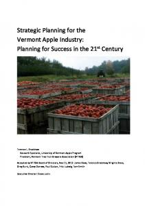 Strategic Planning for the Vermont Apple Industry: Planning for Success in the 21 st Century