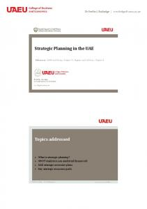 Strategic Planning in the UAE