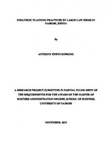 STRATEGIC PLANNING PRACTICES BY LARGE LAW FIRMS IN NAIROBI, KENYA ANTHONY EDWIN KIPRONO