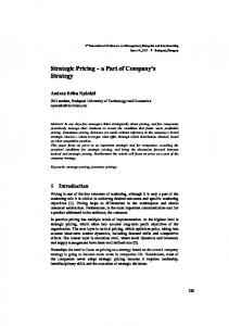 Strategic Pricing a Part of Company s Strategy