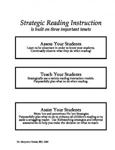 Strategic Reading Instruction