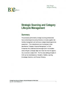 Strategic Sourcing and Category Lifecycle Management