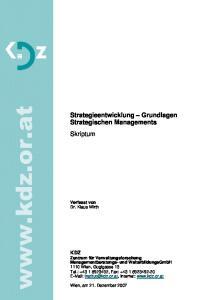 Strategieentwicklung Grundlagen Strategischen Managements Skriptum