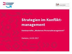 Strategien im Konflikt- management