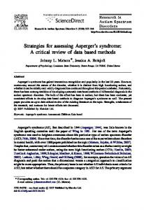 Strategies for assessing Asperger s syndrome: A critical review of data based methods
