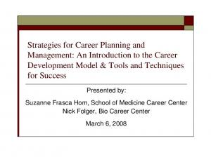 Strategies for Career Planning and Management: An Introduction to the Career Development Model & Tools and Techniques for Success