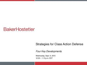 Strategies for Class Action Defense
