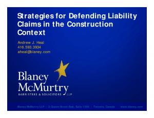Strategies for Defending Liability Claims in the Construction Context