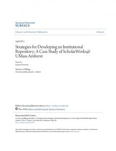 Strategies for Developing an Institutional Repository: A Case Study of UMass Amherst