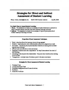 Strategies for Direct and Indirect Assessment of Student Learning