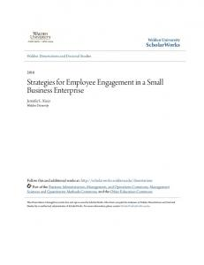 Strategies for Employee Engagement in a Small Business Enterprise
