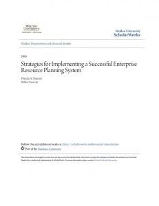 Strategies for Implementing a Successful Enterprise Resource Planning System