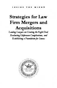 Strategies for Law Firm Mergers and Acquisitions