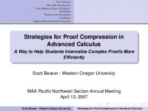Strategies for Proof Compression in Advanced Calculus