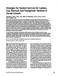 Strategies for Student Services for Lesbian, Gay, Bisexual, and Transgender Students in Dental Schools