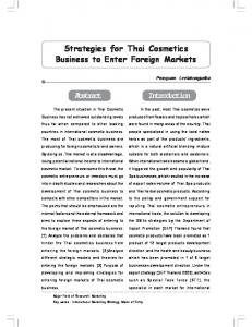 Strategies for Thai Cosmetics Business to Enter Foreign Markets