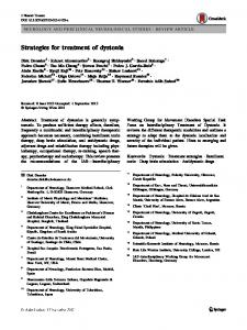 Strategies for treatment of dystonia