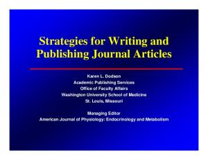 Strategies for Writing and Publishing Journal Articles