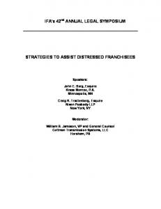 STRATEGIES TO ASSIST DISTRESSED FRANCHISEES