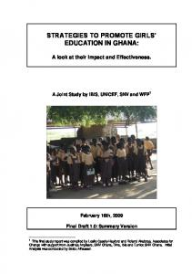STRATEGIES TO PROMOTE GIRLS EDUCATION IN GHANA: